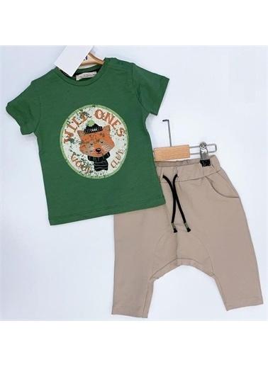 Riccotarz Erkek Bebek Wild Ones Yazılı Yeşil Eşofman Takım Renkli